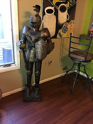 Vintage Knight Statue Life Size Aluminum Knight w Knife Sword Decor