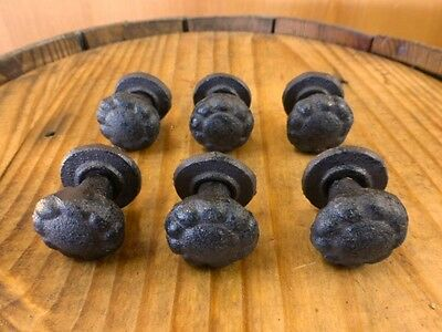 "Set 6 Decorative Edge 1"" Round Drawer Cabinet Knobs Pull Antique-Style Cast Iron"