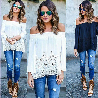 Womens Off Shoulder Casual Tops Blouse Long Sleeve Lace Floral T-Shirt Tops UK