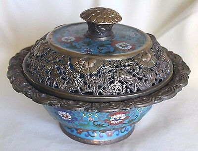 Superb Large Early Antique Chinese Cloisonne Lotus Flower CENSER Incense Burner