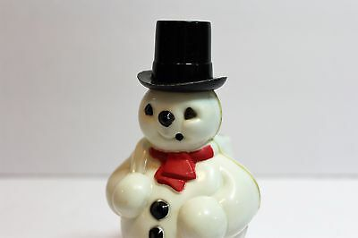 Vintage Holiday Christmas Plastic Snowman Candy Holder