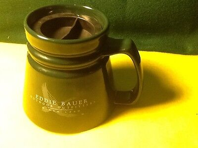 Eddie Bauer Outdoor Fitters Travel Master Green No Skid Coffee Mug Cup With Lid