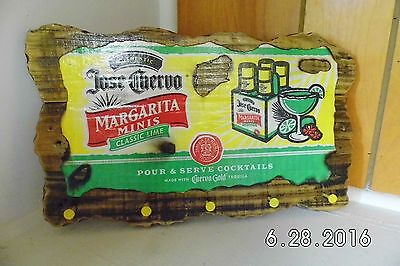 Handmade Rustic Wooden Jose Cuervo Margarita Minis Sign/Key Holder Original 2016