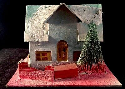 Pitched Roof With Dormer Putz Christmas House 1950s USA Blue Shrub Brick Fence