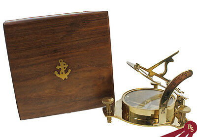 "4"" BRASS SUNDIAL COMPASS - Wood Box - SUN DIAL DISPLAY"