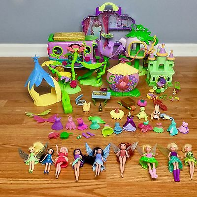 DISNEY FAIRIES TINKERBELL DOLLS & PLAYSETS HUGE LOT House Camper Dresses VGUC
