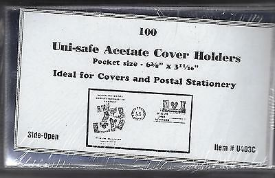 """100 Acetate Cover Holders - Large: Fit 6-3/8"""" x 3-11/16"""" - Side-Open U403C"""