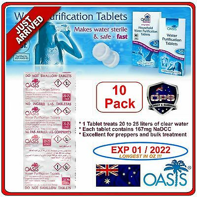 Oasis Water Purification Tablets 10 Pk Survival Hiking Camping Prepper 167mg