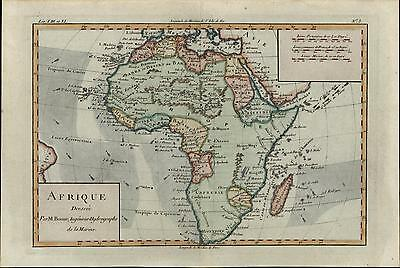 "Afrique Africa Ethiopia Barbary ""Hottentots"" c.1780 Bonne old antique color map"