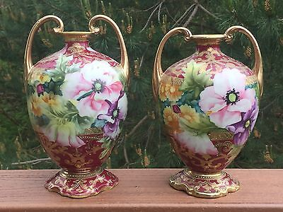 Antique Pair Nippon Muscle Vases Hand Painted Floral & Gold Moriage Beading
