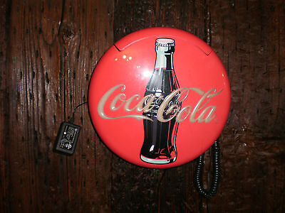 Vintage 1996 Coca-Cola Coke Red Round Disc Telephone , working  condition.