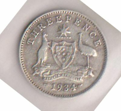 (H60-24) 1934 AU three pence silver coin (K)