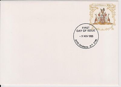 (K34-12) 1983 AU 30c PSE N.T. coat of Arms small envelope Darwin cancel (A)