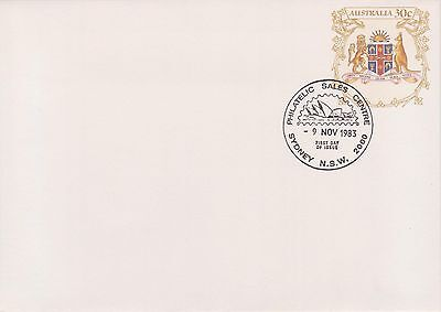 (K34-10)1983 AU30c PSE New South Wales coat of arms small envelope Sydney Cancel