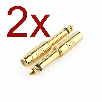 """2x GOLD Plated 1/4"""" 6.35mm Mono Male To RCA Female Audio Connector Adapter"""