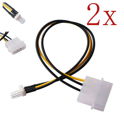 2x 4-Pin Molex/IDE to 3-Pin CPU/Case Fan Power Connector Cable Adapter 20cm