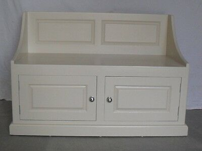 Solid pine storage bench painted in Farrow and Ball Joa's white.