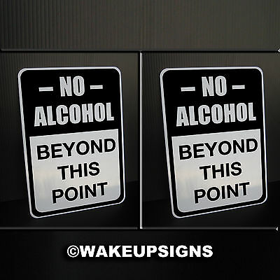 """(Lot Of 2) No Alcohol Beyond This Point Signs Aluminum 7"""" By 10"""" Bar Lounge Pub"""