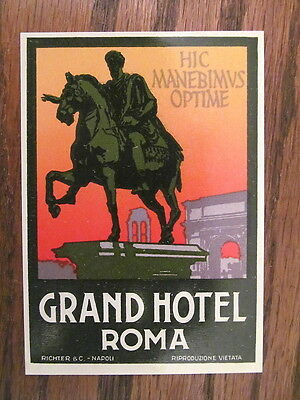 Vintage Old 1930 s Hotel Luggage Label GRAND HOTEL Roma Rome Italy