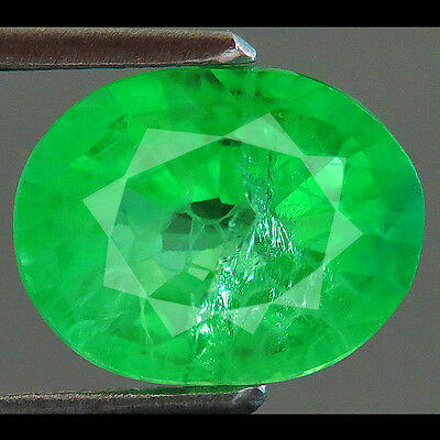 3.05ct Lab-created COLUMBIAN GREEN EMERALD CHATHUM OVAL 7 x 9