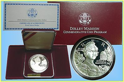 USA :- 1999 Dolley Madison Proof Silver Dollar