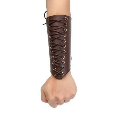 Archery Arm Guard Handmade Lace-up Cow Leather Traditional Bow Hunting Brown