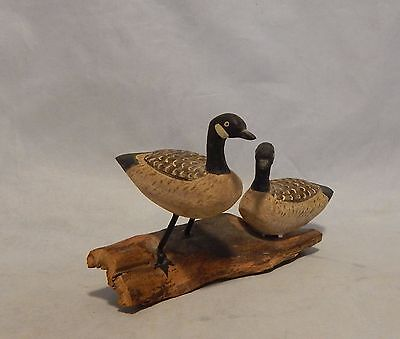 Wood Carved Geese on Wood Figure