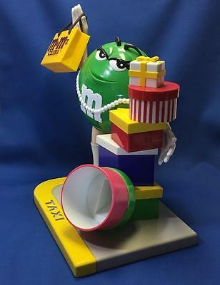 M&M's Ms Green Candy Dispenser Figurine Hailing Taxi w/HTF Purse 1999