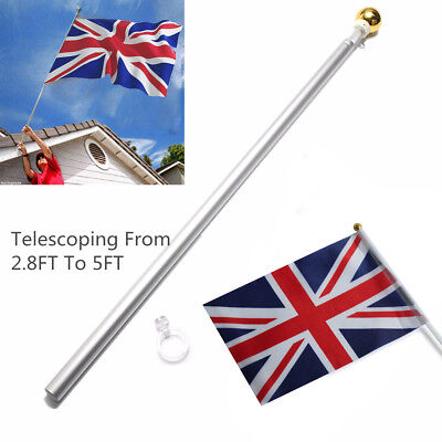 5ft Flag Pole Telescopic Aluminium Flagpole Gold Ball Top Stand Silver Bar Rod