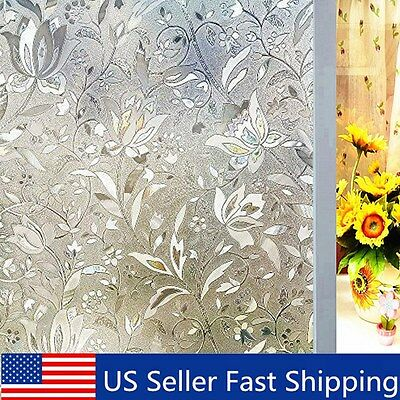 3D Non-Adhesive Flower Window Glass Static Films Privacy Bathroom Decor Sticker