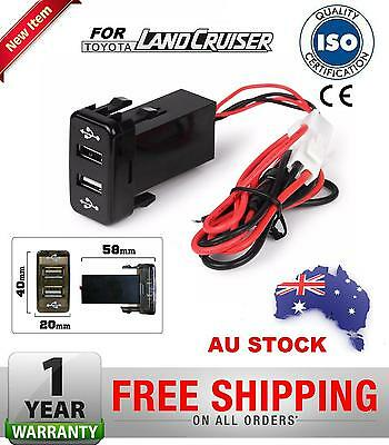 Toyota Dual USB Audio Charger Port Prado 120 Hilux Land Cruiser 100 Series