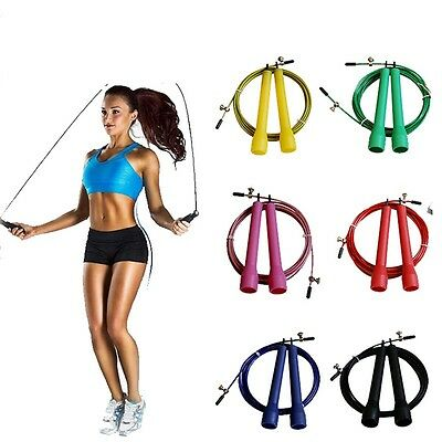 9ft Skipping Rope Steel Wire Aerobic Adjustable Workout Fitness Exercise Cardio