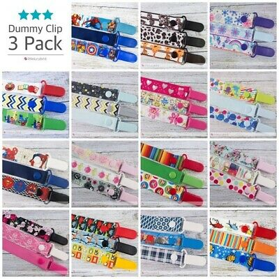 Dummy Clips 3 Pack Boys / Girls  - Pacifier Clip - Soother Chain - Baby Gift.