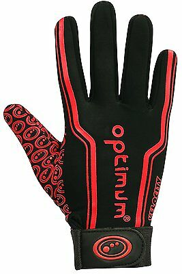 Optimum Mens Velocity Thermal Rugby Gloves - Black/Red, Large