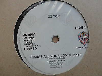 """ZZ Top Gimme All Your Lovin' 7"""" Single 1983 **EX**"""