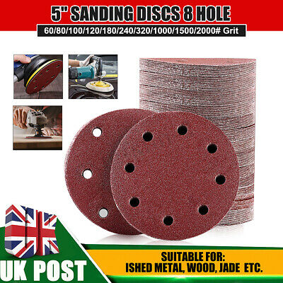 "10/20/50/100pcs 125mm 5"" 8 Hole Sanding Discs Mixed Grit Orbital Sander Pads"