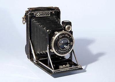 KW Patent Etui Folding Camera 6.5x9cm Zeiss Tessar 105mm f/4.5 Lens Rollex Back