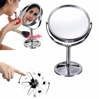 360° Chrome Double Sided Round Magnifying Cosmetic Shaving Makeup Swivel Mirror