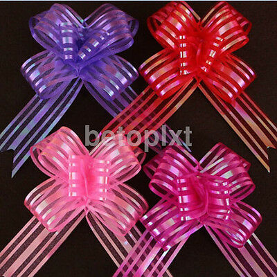 10pcs Beauty Organza Ribbon Pull Bows Wedding Car Decoration Gift Wrap Floristry
