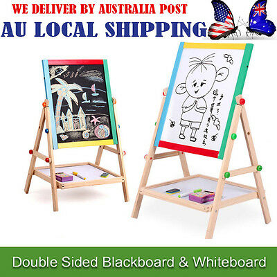 2in 1 Kid Standing Double Sided Blackboard Whiteboard Wooden Easel Chalkboard AG