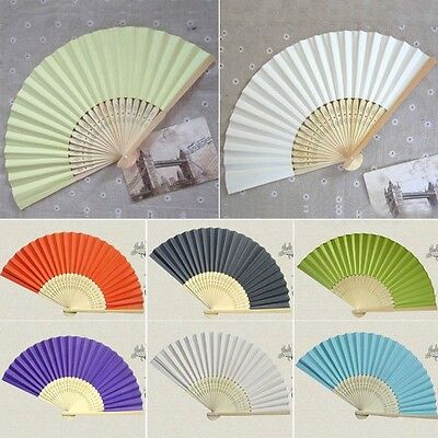 UK 17 Colors Folding Hand Held Bamboo Paper Fans Pocket Fan Wedding Party Decors