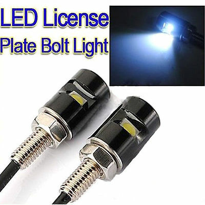 Two Universal Motorbike + Car Led Rear Number Plate Light Bolts