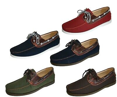 Men's Coolers Faux Nubuck Leather Loafer Lace Up Boat Deck Shoes Sizes 7 to  11