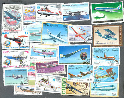 Aviation on stamps 200 all different collection -all types of Air transport