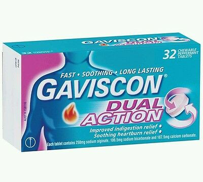3× Gaviscon - Dual Action - 32 Chewable Tablets  - OzHealthExperts