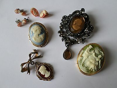 Pretty vintage & modern cameo (NOT SHELL) brooches and earrings