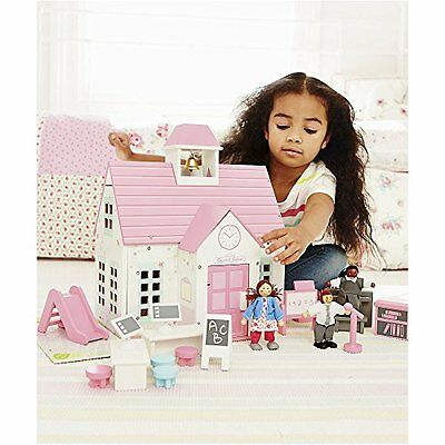 ELC Rosebud Village School & Dolls, Wooden Pink and White Kids Girls Toy Playset