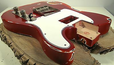 Tele Nitro Aged Guitar Body - Relic by LQAF  -Humbucker- Candy Red over Sunburst