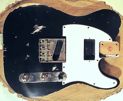 Tele Nitro Aged Guitar Body Relic by LQAF 50s/60s cut -Humbucker- Black on White