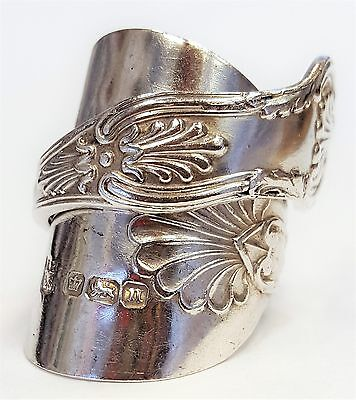 Solid 925 sterling silver hallmarked antique Kings design spoon ring SIZE O